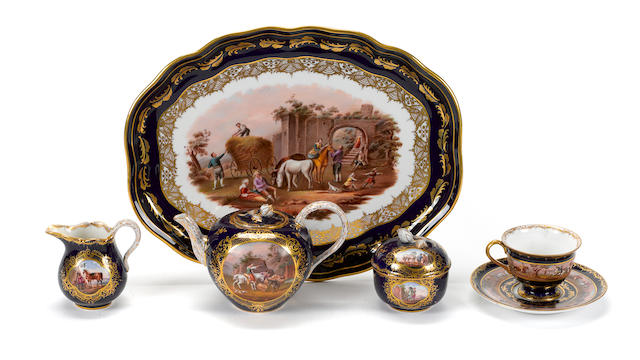 An assembled German porcelain part tea service