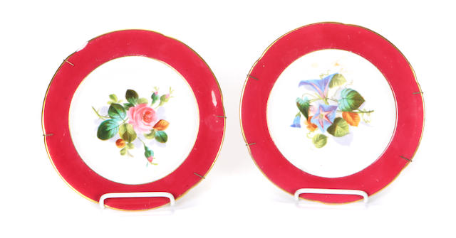 A set of twelve English porcelain dessert plates