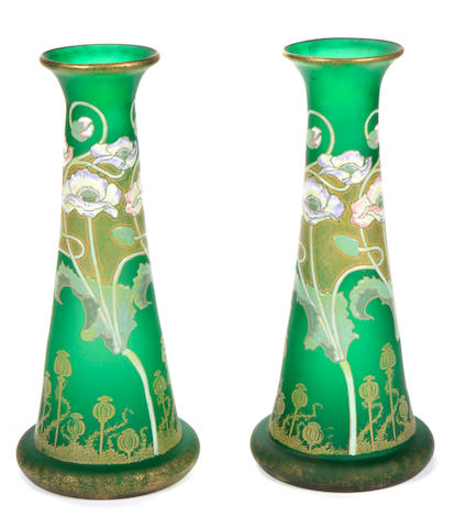 A pair of Art Nouveau enameled green glass vases early 20th century