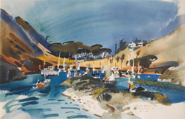 Rex Brandt (American, 1914-2000) Catalina Harbor PM