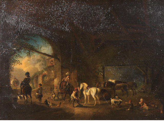 oil on panel, pastoral landscape, unsigned Figures and horses in a stable 16 1 /4 x 21 1/4in
