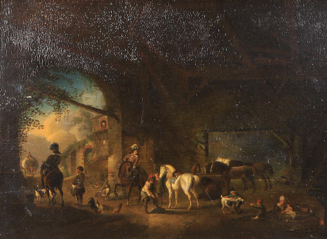 Follower of Pieter Wouwerman (Dutch, 1623-1682) Figures and horses in a stable 16 1 /4 x 21 1/4in