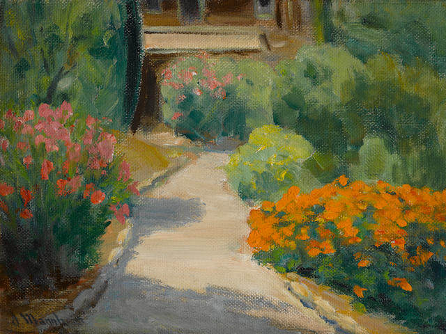 Jean Mannheim (1863-1945), Garden path, signed, o/m, 12 x 16in, framed