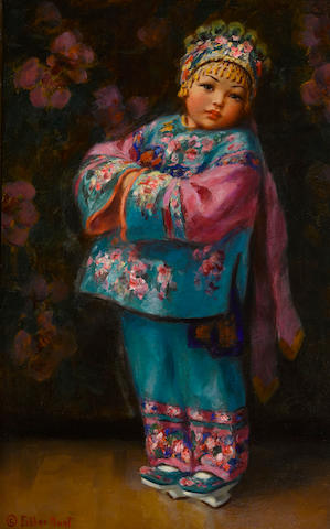 Esther Anna Hunt (American, 1875-1951) Chinese girl 22 1/4 x 14in