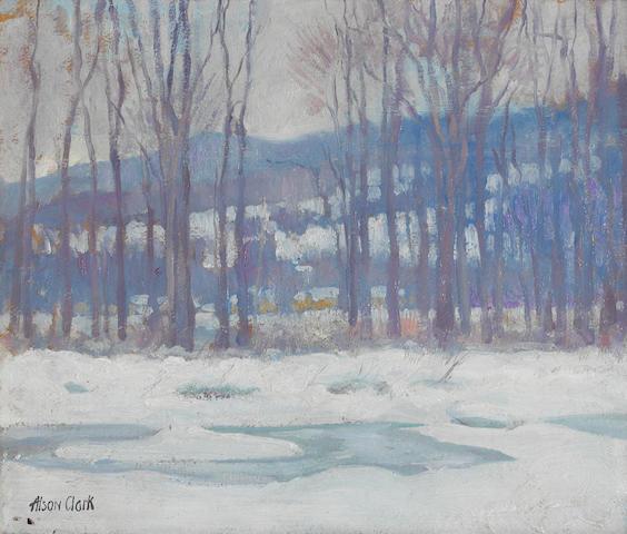 Alson Skinner Clark (1876-1949), Snow scene, signed, o/bd, 15 x 18in, framed