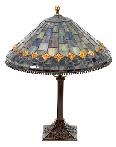 A leaded glass shade on associated metal base late 20th century