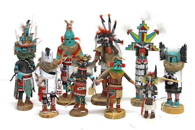 Nine Hopi kachina dolls