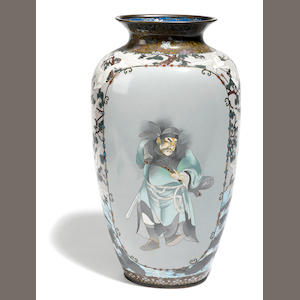 A large Japanese Satsuma vase with figural decoration