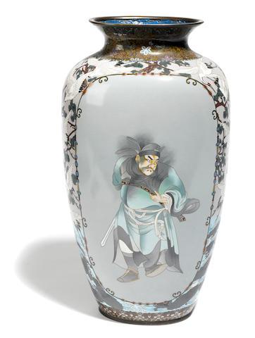 A large Japanese Satsuma vase with figural decoration