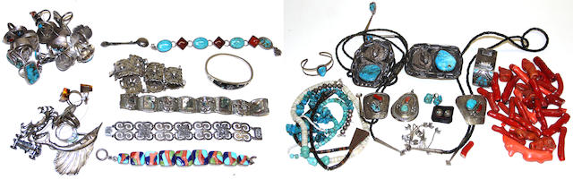 A collection of Southwest and other jewelry