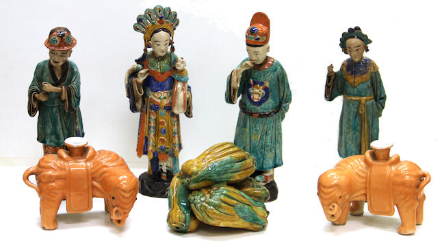 A group of Chinese ceramic decorations