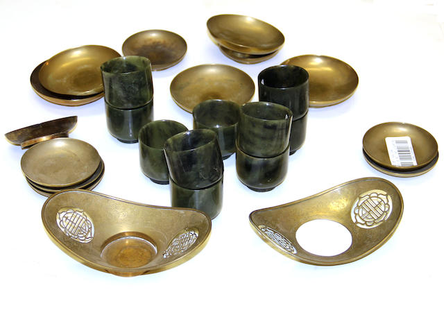 A group of ten hardstone cups