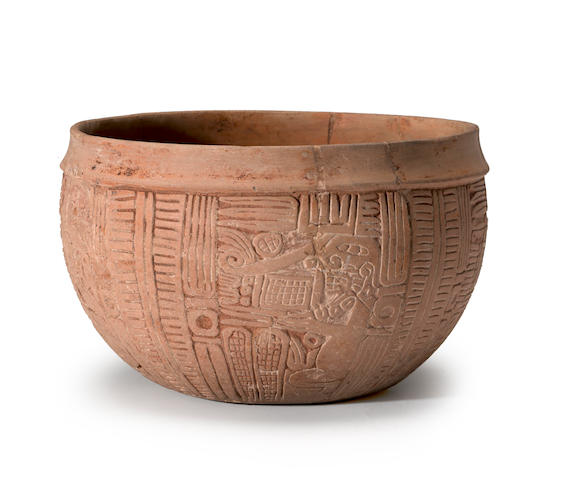 Maya Carved Bowl, Late Classic, ca. A.D. 550 - 950