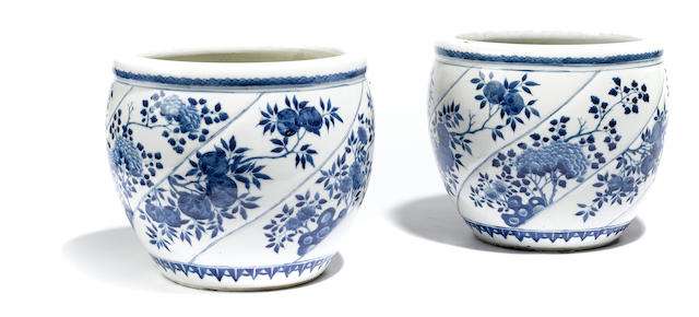 A pair of Chinese blue and white porcelain cachepots