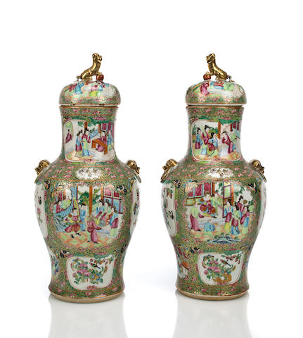 A pair of Chinese Export porcelain Rose Medallion covered baluster form jars mid-19th century