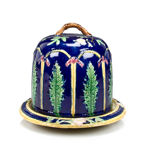 Cobalt blue Majolica cheese dome with floral motif and base, c. 1880
