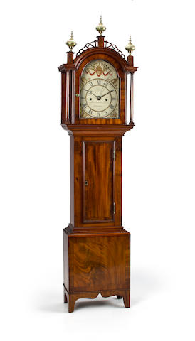 A very fine and rare American Federal inlaid mahogany dwarf clock with alarm signed R. Tower, Kingston, the case attributed to Henry Willard, circa 1821 - 1824
