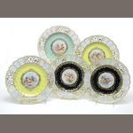 A harlequen set of five Meissen porcelain reticulated dessert plates  late 19th century
