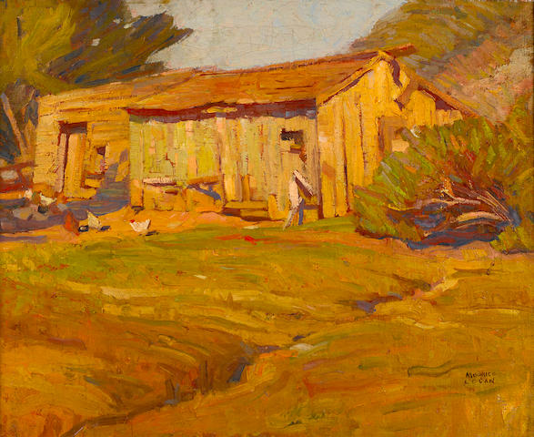 Maurice Logan (American, 1886-1977) Sunlight on an old barn 18 1/4 x 22 1/2in