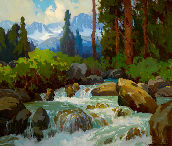 Marion Kavanagh Wachtel (American, 1870-1954) Near Mineral Falls (High Sierras) 24 x 28 1/2in