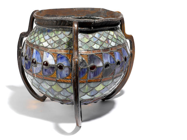 A leaded glass metal mounted globular light fixture