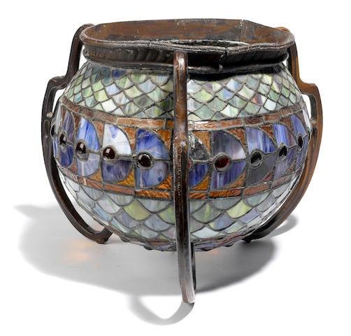 A leaded glass metal mounted globular light fixture