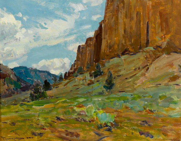 Frank Tenney Johnson (American, 1874-1939) Along the ridgeline 14 x 18in