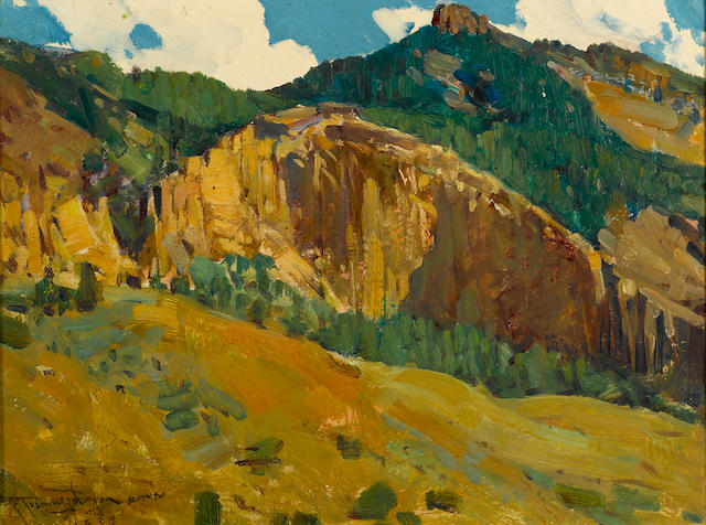 Frank Tenney Johnson (American, 1874-1939) Mountains and cliffs, 1933 12 x 15 3/4in