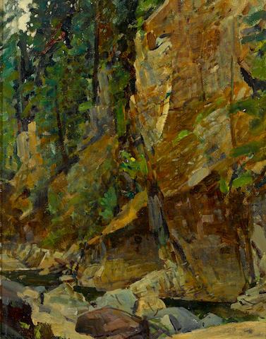Frank Tenney Johnson (American, 1874-1939) In the canyon 20 x 16in