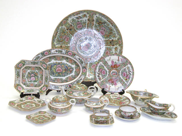 An assembled Rose Medallion export porcelain partial dinner service Late Qing and Republic period