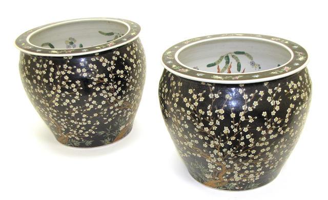 A pair of famille noire enameled porcelain jardinières Late 20th century