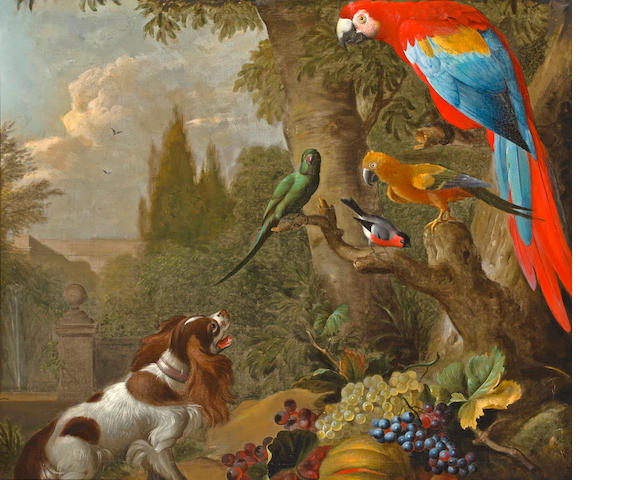 Attribution pending, Dog and Parrots, oil on canvas, 42 x 36