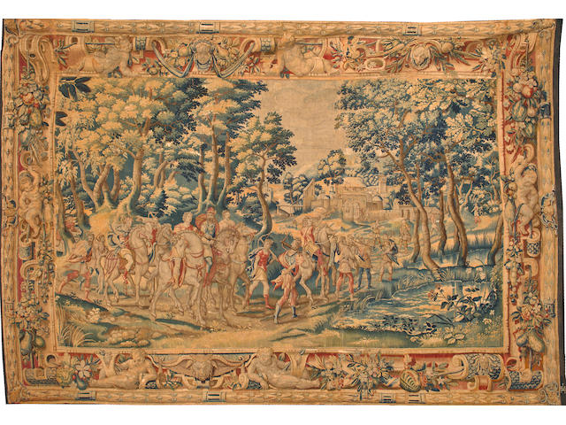 A Flemish tapestry with the mark of Joost Van Herzeele, late 16th/early 17th century.