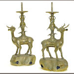 A pair of large Chinese brass deer-form candle holders Late Qing dynasty