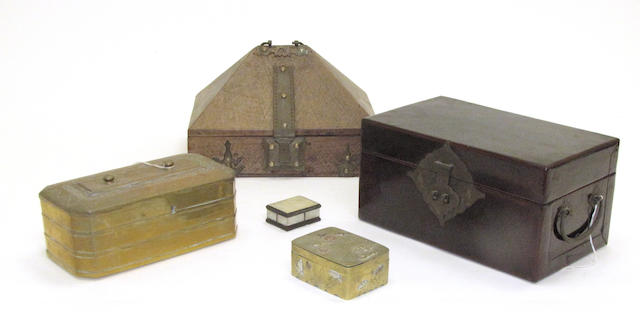 A group of five Asian boxes