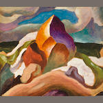 "Thomas Hart Benton, Abstract, oil on paper, 8 x 11"" (tear upper left corner)"