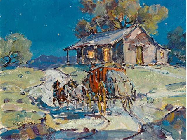 Marjorie Jane Reed (American, 1915-1996) Midnight at the way station 12 x 16in