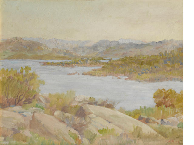 Charles A. Fries (American, 1854-1940) Morena Lake 16 x 20in