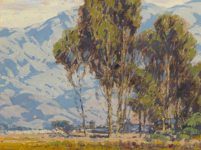 Sam Hyde Harris (American, 1889-1977) Eucalyptus grove with mountains beyond 12 x 16 1/4in