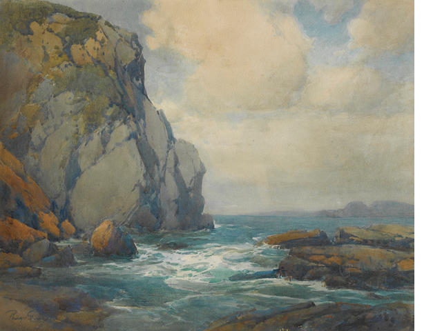 Percy Gray (1869-1952), Coastal cliffs, signed, wc/pp, 16 x 20in, framed