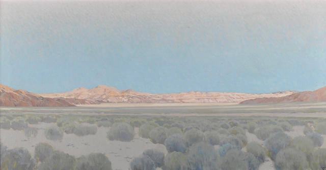 Fernand Harvey Lungren (American, 1859-1932) The desert floor with hills beyond 20 x 38in
