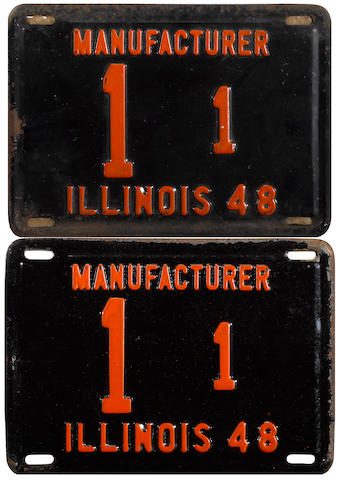 A set of original  1948  Illinois manufacturing plates issued to the Tucker Corperation,  1/1,
