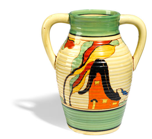 A Clarice Cliff two-handled Isis Jug in the Orange House pattern