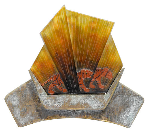 A Gabriel Argy-Rousseau pâte de verre plaque: Deux Tigres dans l'Herbe (Bloch-Dermant 28.11), circa 1928