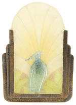 A group of four A. Walter pate de verre and bronze sconces (provenance: Lillian Nassau)