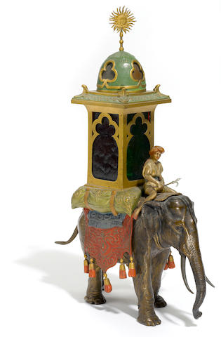 Elephant and Mahout lamp