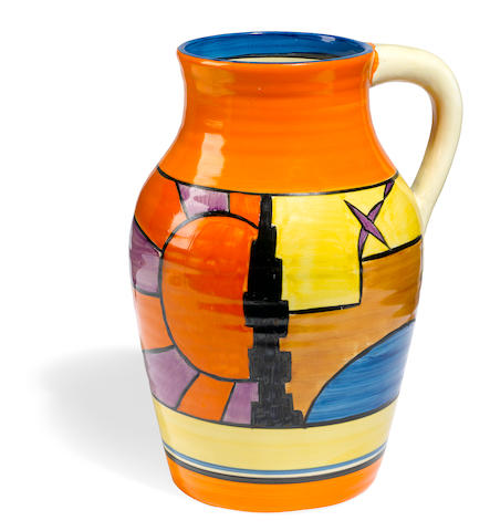 A Clarice Cliff Sunray single handled Lotus jug circa 1930