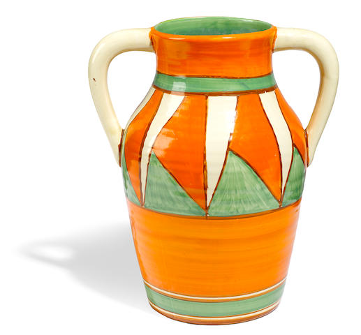A Clarice Cliff two-handled Isis Original Bizarre jug