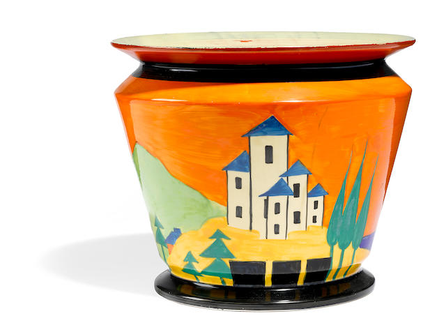 A Clarice Cliff Chippendale Applique Lucerne jardiniere