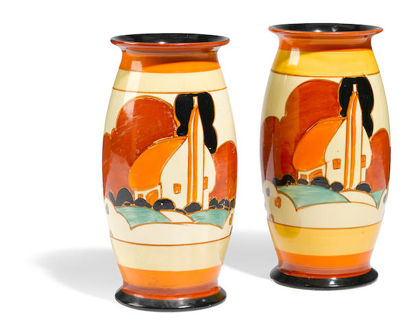 A pair of Clarice Cliff Farm House vases, shape 264